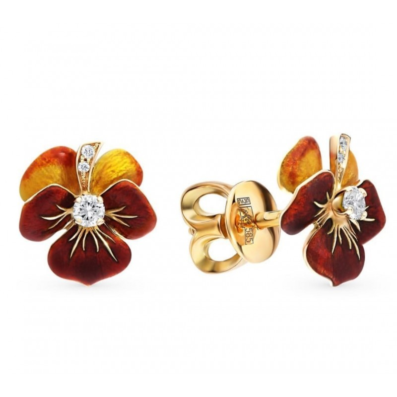 Golden earrings with diamonds - flowers
